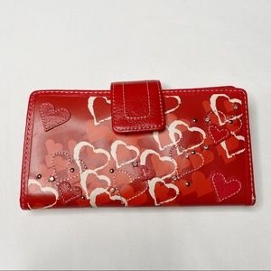 Fossil Red Heart Leather Wallet